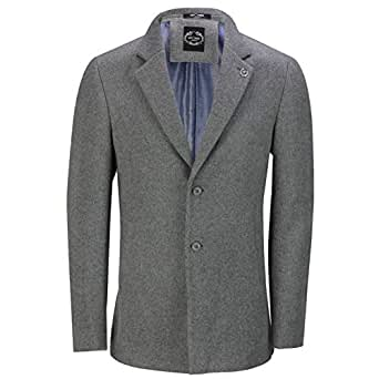 Mens Classic Black Grey Overcoat Wool Blend Winter Warm