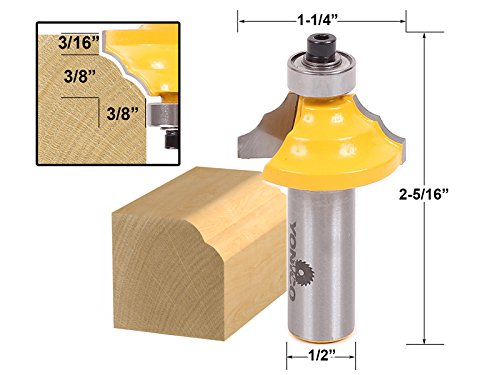 Yonico 13130 Double Round-Over Edging Router Bit 1/2-Inch Sh