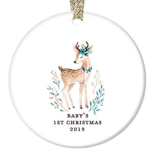 (Baby Girl's First 1st Christmas Ornament 2019 Cute Deer Fawn Baby Shower Holiday Gift New Parents Mommy & Daddy Infant Daughter Keepsake Present 3