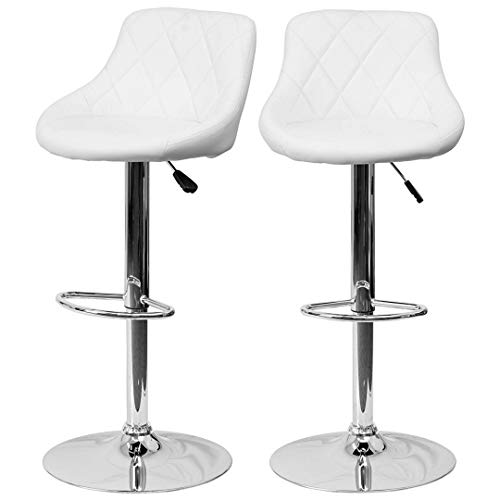 (Modern Style Bar Stools Low Back Horizontal Stitched Design Durable Vinyl Upholstery 360-Degree Swivel Seats Drafting Dining Chair Bar Pub Home Office Furniture - [Set of 2] White #2242)