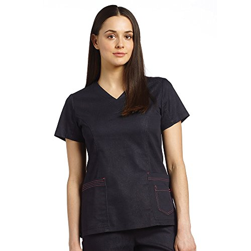 Allure By White Cross Women's V-Neck Layered Pocket Denim Scrub Top Xxx-Large Indigo (Denim Scrub Top)