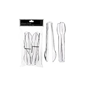 Sugarman Candy Clear Plastic Tongs, 6 1/2-Inch, 2 Packs of 4 Pieces