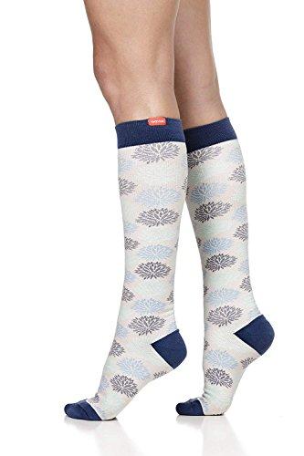 VIM&VIGR Women's 15-20 mmHg Compression Socks: Mum's Floral - Sea Glass & Grey (Cotton) (Small)