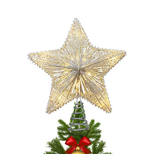 MAOYUE Christmas Tree Topper Lighted, Star Tree Topper with 10 LED Lights, Sliver Glittered Christmas Tree Decorations for Indoor Home Décor (Star For Christmas Tree)