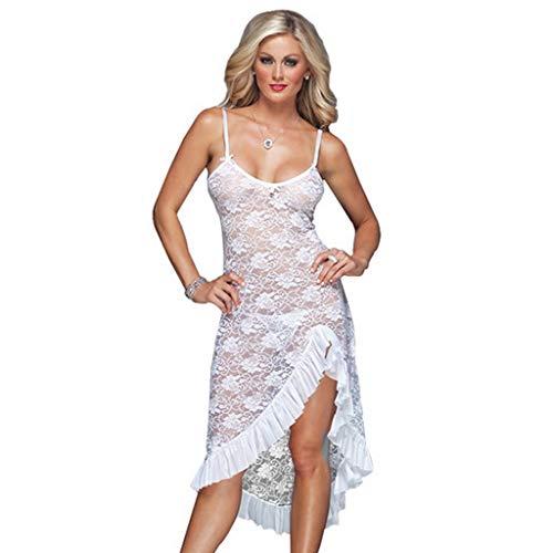 SportsLadyshop Lingerie Dress Women See Through LongGowns Sexy Sleepwear Sheer Mesh Bridal Babydoll ()