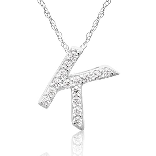14-karat-white-gold-k-initial-necklace-with-15-diamonds-with-free-18-inch-chain
