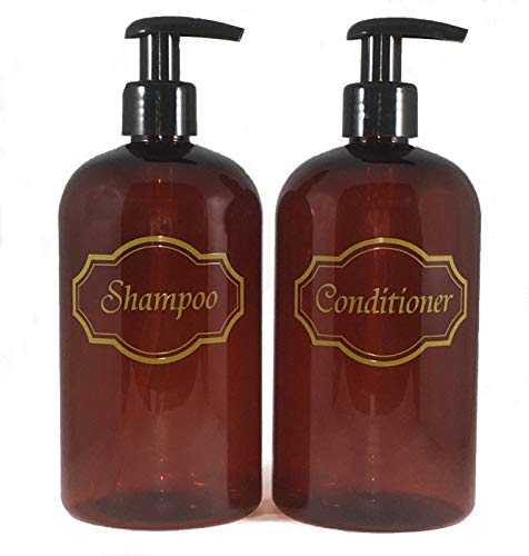 Bottiful Home- 16 oz Refillable Empty Amber PET Plastic Shampoo & Conditioner Pump Bottle Set-Gold Printed-Black Pumps-Fully Waterproof-Rust-Free, Clog-Free, Drip-Free