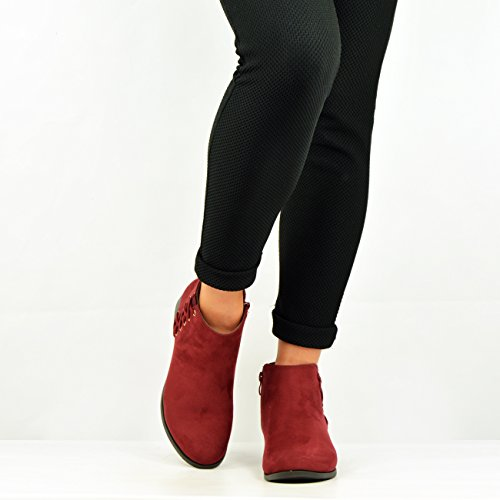 New Womens Fringe Ankle Boots Ladies Mid Block Heel Booties Tassel Shoes Size Uk Red Side Cross Lace sSFdOpv