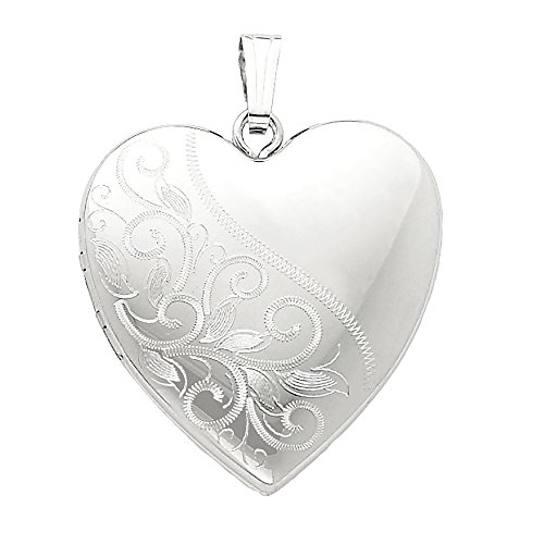 4 Photo Heart Locket (Designs by Nathan, 925 Sterling Silver Family 4 Photo Heart Pendant Locket, 3 Style Choices (Scrolled Polished Bail Pendant Locket))