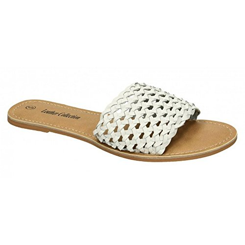 White Collection Womens Mule Leather Leather Sandals Flat Weave Ladies 01wqpg