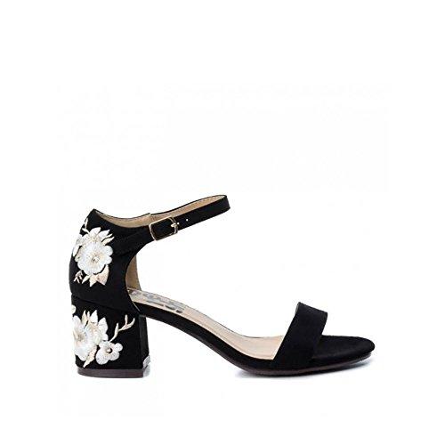 Refresh Sandalia de Vestir Para Mujer, con Tacón Medio, Color Negro, Antelina, Suela cuerolite, Bordado Tacón. Talla 40