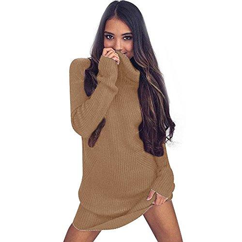 Suéter Jerseys De Punto Mujeres Jersey de Cuello Alto Blusa de Abrigo, Mujer Casual Manga Larga Jumper Suéteres de Cuello Alto Coat Blusa Vestido de Jersey ...