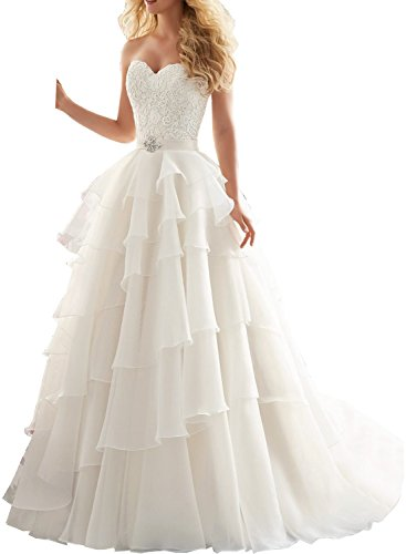 Milano Bride Damen Einzigartig Traegerlos Abendkleider Promkleider Braukleider Hochzeitskleider Spitzen Chiffon Lang