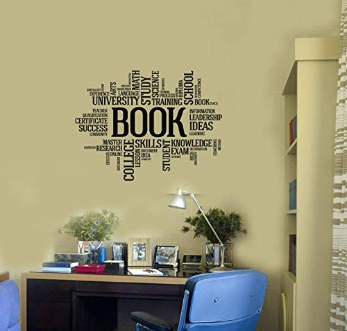 (Book Vinyl Wall Decal Reading Room Library Book Shop Words Cloud Interior Stickers Mural and Stick Wall)