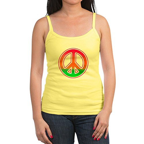 Royal Lion Jr. Spaghetti Tank Neon Peace Symbol - Lemon, Medium