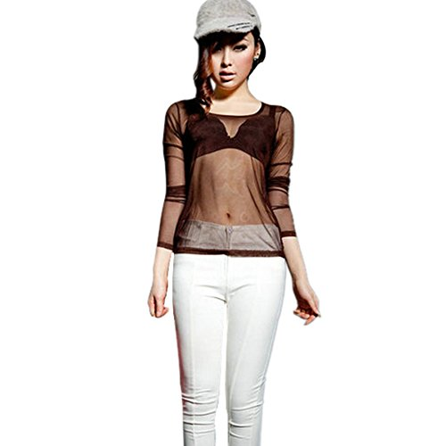 Weixinbuy Women's Sheer Mesh T-Shirt Sexy See Through Long Sleeve Tops - Brown Transparent