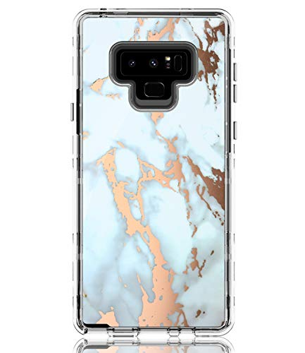 BAISRKE Galaxy Note 9 Case, Shiny Rose Gold White Marble Case Heavy Duty Hybrid 3-Layer Full-Body Protect Clear Case Soft TPU & Hard Plastic Back Cover for Samsung Galaxy Note 9