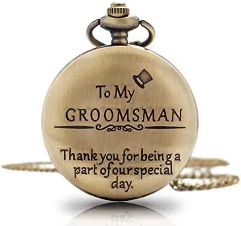 1x Groomsman Gifts for Wedding|Best Man Pocket Watch| Engraved Best Man Pocket Watch with Chain |Gift for Best Man Mens' Watch