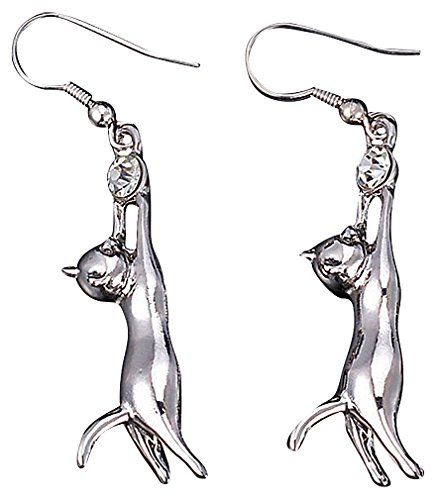 Chico, Women's Trendy 18K Gold Plated Cute Kitty Clear Crystal Zircon CZ Stone Dangle Cat Earrings, Platinum (Platinum Earrings Zircon)