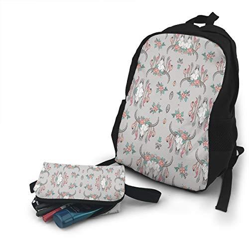 (Jiqnajn6 Boho Longhorn Cow Skull(2593) Laptop Backpack,Travel Computer Bag for Women & Men,Anti Theft Resistant College School Bookbag,Business Backpack.)