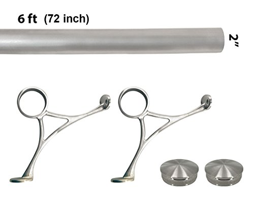 - Bar Foot Rail Kit (Custom-Made Item) - Brushed Stainless Steel Tubing (2 in OD, 6 ft Length) - Combination Foot Rail Brackets - Tapered End Caps