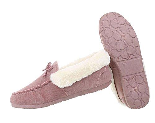 Damen Schuhe Mokassins Warm Gefütterte Hellrosa