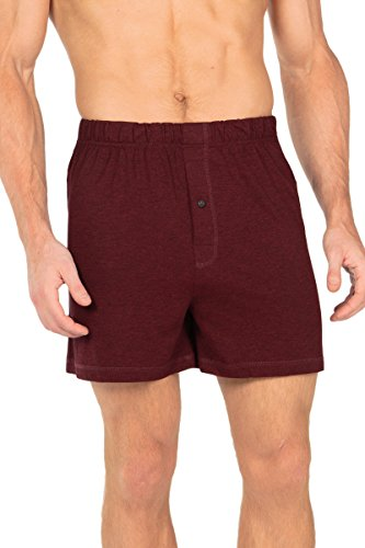 Texere Men's Bamboo Jersey Underwear Boxers (Single Pack, Heather Burgundy, Medium) Comfortable Loungewear for Him MB6104-2R1-M