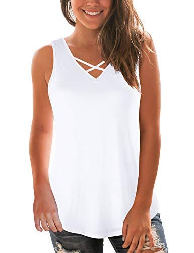 Women's Plus Size Tanks Casual Sleeveless Criss Cross V-Neck Summer Tops White ()