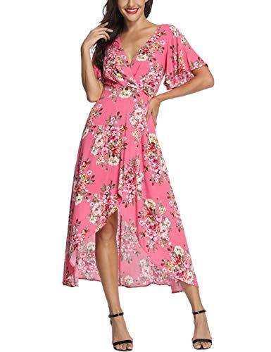 Azalosie Wrap Maxi Dress Short Sleeve V Neck Floral Flowy Front Slit High Low Women Summer Beach Party Wedding Dress Pink