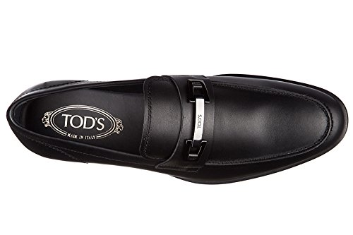 Tods Mens Mocassini In Pelle Slipper Macro Morsetto In Gomma Vg Nero