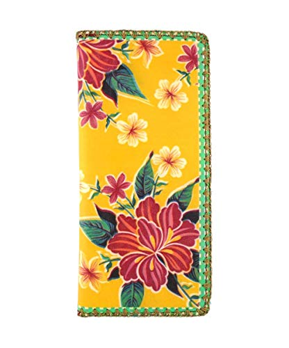 Mlavi Mexican Oilcloth Hibiscus Floral Pattern Print Vegan/Faux Leather Large Flat Wallet