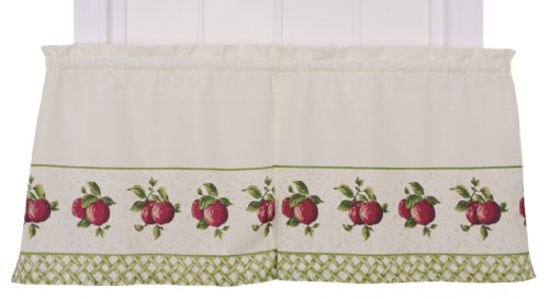 - Ellis Curtain Kitchen Collection Apple Trellis 60 by 36-Inch Tailored Tier Curtains, Red