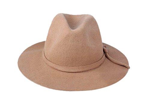 a832fa16cb3 YueLian Women Wool Fedora Jazz Panama Hats Caps with Brim (Camel)