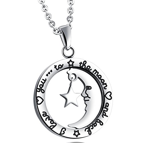 LOHOME Fashion Necklaces Silver Tone Stars and moon Ring Charm Pendant Necklace for Womens