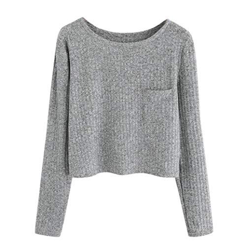(Womens Hoodies Crop Solid Girl Pocket Sweatshirt Sweater Long Sleeve Ribbed Pullover Tops Axchongery (Gray, M))