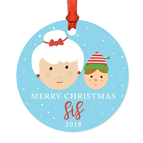 Andaz Press Family Metal Christmas Ornament, Merry Christmas Sis 2019, Santa and Mrs. Claus with Elf, 1-Pack, Includes Ribbon and Gift Bag, Sister Xmas Present -  APP12166