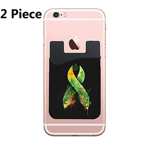 Cellcardphone Green Ribbon Phone Card Holder, ID Credit Card Wallet Phone Case Pouch Sleeve Pocket Compatible with Most of Smartphones(iPhone/Android/Samsung Galaxy) -
