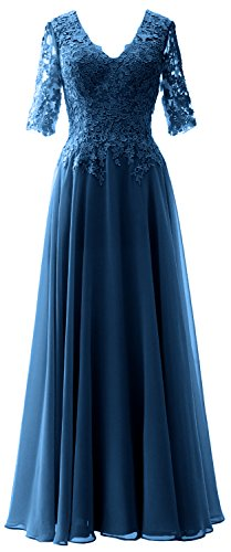 MACloth Women V Neck Evening Formal Gown Half Sleeves Mother of Bride Dress (US18w, Teal)