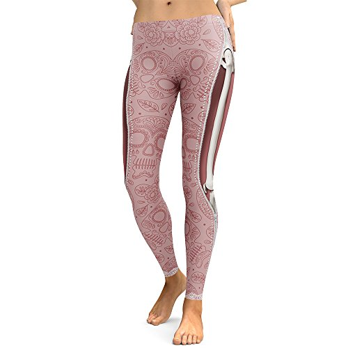 Mad Ink Women's Girls Pioneer Warrior Sexy Tattoo Digital Print Elasticity Leggings Pencil Pants Tights (Sweet Skeleton)]()
