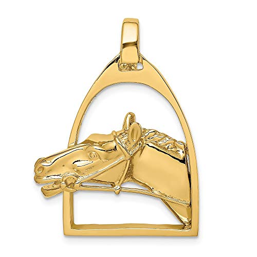 (14K Yellow Gold 2-D & Polished Horse Head In Stirrup Charm Necklace Pendant with 18