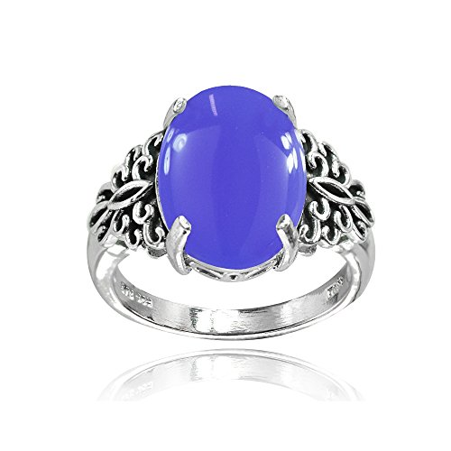 Sterling Silver Simulated Blue Agate Oxidized Bali Inspired Filigree Oval Ring, Size ()