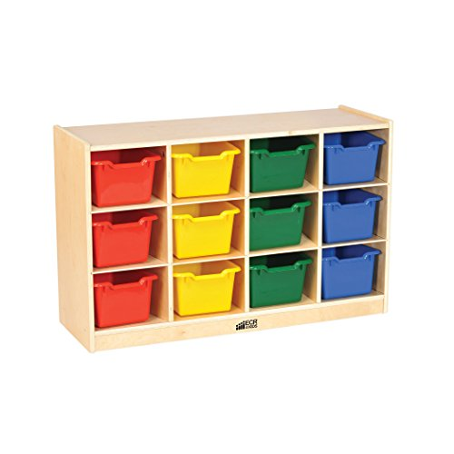 ECR4Kids Birch 12 Cubbie Tray Cabinet with Scoop Front Bins, Assorted Colors