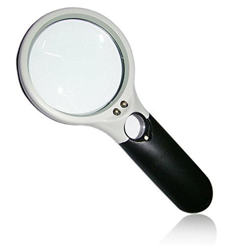 Magnilighting | the Clearest Handheld LED Magnifier 3x 45x Optical Glass Lenses with AAA Battery-Powered and Comfy Handle for Reading Jewelry Evaluating and More | Black - Who Bifocals Invented The