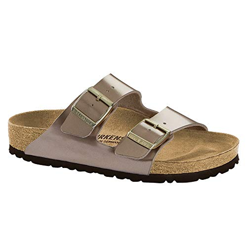 Birkenstock Women's Arizona Birko-Flor Limited Edition Narrow Fit Sandals, Electric Metallic Taupe (ELMETTAU), 37 Birkenstock Arizona Birko Flor Sandal