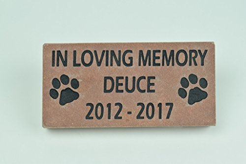 (Sandblast Engraved Red Stone Pet Memorial Headstone Grave Marker Dog Cat ilm 4x8)