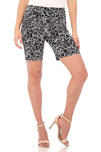 - Rekucci Women's Ease Into Comfort Perfection Modern Office Short (14,Black/White Tropical)