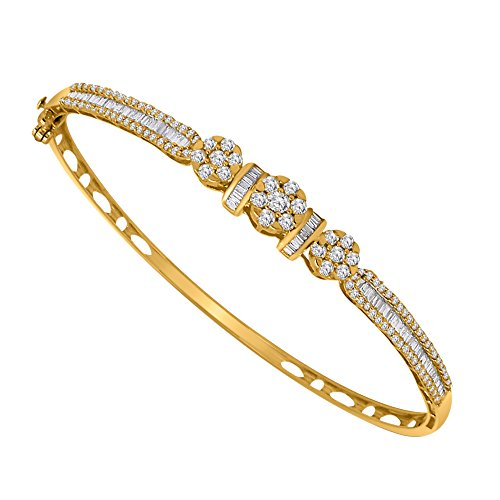 Bracelet Bangle Diamond Baguette (OMEGA JEWELLERY 10K Solid Gold Round & Baguette Cut Natural Diamond Halo Bangle Bracelet (1.41 Ct) (yellow-gold))
