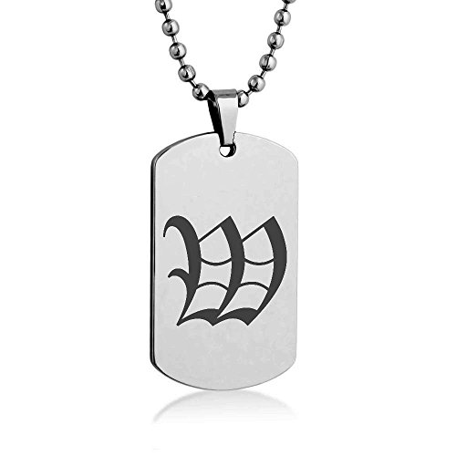 [Old English Letter W Engrave Dog tag Necklace Pendant 24 inch Stainless Steel Chain Giftpouch and] (Letter W Halloween Costumes)