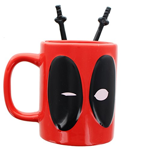 Deadpool Coffee Mug with Sword Stirring Spoons (Set Twin Mug)