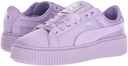 Details about PUMA Girls' Basket Platform Sneaker Purple Rose Satin Sz 1 Child